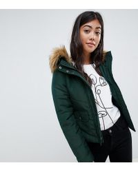 Noisy May Petite - Faux Fur Padded Parka - Lyst