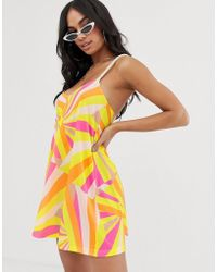 0077e1910800 ASOS - Jersey Beach Sundress With Rope Tie In Faded Fluro Stripe Print With  Natural Flash