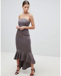 AX Paris - Bandeau Midiaxi Dress With Peplum Hem - Lyst