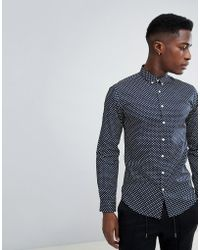 5e4ae06aa Lindbergh - Oxford Shirt With All Over Print In Navy - Lyst