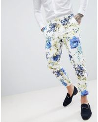 ASOS - Design Wedding Skinny Crop Suit Trousers In White Cotton Floral Print - Lyst