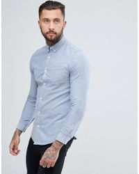 River Island - Skinny Fit Oxford Shirt In Light Blue - Lyst