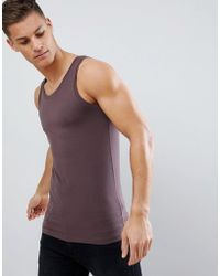 ASOS - Muscle Fit Vest In Brown - Lyst