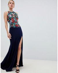 Jovani - Embroided Keyhole Maxi Dress - Lyst