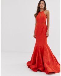 Jovani - Fishtail Backless Maxi Dress With Ruffle Detail - Lyst