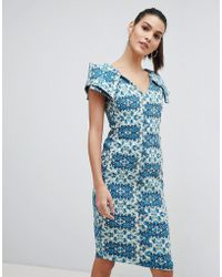 Vesper - Printed Pencil Dress With Puff Sleeves - Lyst