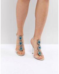 Betsey Johnson - Blue By Betsy Johnson Sylvi Clear Embellished Heeled Wedding Sandals - Lyst