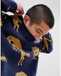 Wrangler - Blue & Yellow Horse Logo Sweatshirt - Lyst