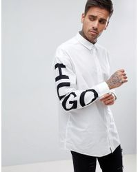 HUGO - Exploded Logo Sleeve Shirt In White - Lyst