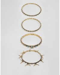 ASOS - Design Layered Bangle Pack In Burnished Gold - Lyst