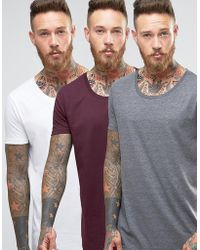 ASOS | 3 Pack Longline T-shirt With Raw Scoop Neck In White/charcoal/oxblood Save | Lyst