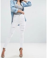ASOS | Ridley Skinny Jeans In White With Shredded Rips With Let-down Hem | Lyst