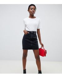 cc1e2a403c120 Lyst - ASOS Denim Original High Waisted Skirt In Washed Black With ...