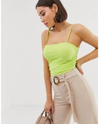 Missguided - Netted Bodysuit With Ruched Sides In Green - Lyst