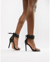 7502198f0af Lyst - Office Smile Rose Gold Leather Platform Heeled Sandals in ...