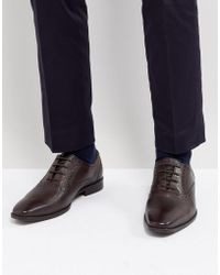 Dune - Saffiano Brogue Shoes In Brown Leather - Lyst