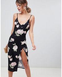 ASOS DESIGN - Slinky Button Rose Print Midi Dress - Lyst