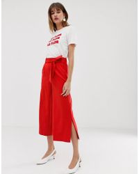 Warehouse - Wide Leg Cropped Trousers With Tie Belt In Red - Lyst