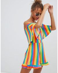Daisy Street - Playsuit With Bardot Frill In Rainbow Stripe - Lyst