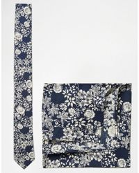 ASOS - Floral Tie And Pocket Square Set In Navy - Lyst