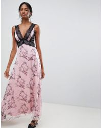 Liquorish - Bird Print Maxi Dress With Lace Inserts - Lyst