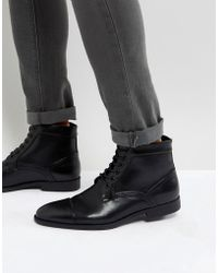 ASOS - Lace Up Boots In Black Faux Leather - Lyst