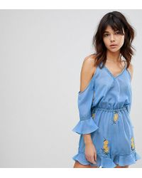 Akasa - Embroidered Mesh Playsuit - Lyst