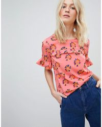 Vero Moda - Floral Blouse With Ruffle Panel - Lyst