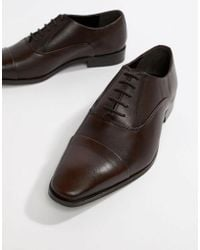 Dune - Toe Cap Derby Shoes In Brown Leather - Lyst
