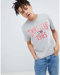 88e919d9e1d104 Tommy Hilfiger - Collegiate 1985 Flag Logo T-shirt In Grey Marl - Lyst