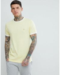 Farah - Groves Slim Fit Ringer T-shirt In Yellow - Lyst