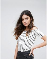 Daisy Street | Striped Cold Shoulder Oversized Top | Lyst