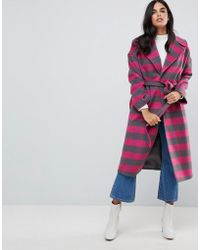 Helene Berman - Wool Blend Revere Collar Pink Check Coat - Lyst