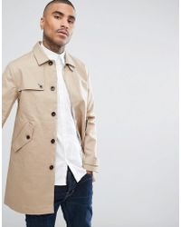 Pretty Green - Layton Trench Coat In Stone - Lyst