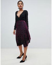 Y.A.S - Yas Midi Wrap Skirt In Flocked Velvet - Lyst