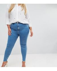 ASOS - Asos Design Curve Ridley High Waist Skinny Jeans In Lily Wash - Lyst