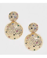 Reclaimed (vintage) - Inspired Drop Circle Earrings With Multi Color Stone Detail - Lyst