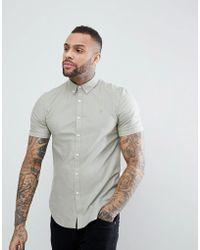 Farah - Brewer Slim Fit Short Sleeve Oxford Shirt In Green - Lyst