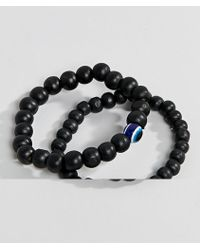 ALDO - Black Beaded Bracelet In 2 Pack - Lyst