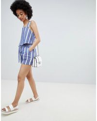 ONLY - Stripe Paperbag Waist Short Two-piece - Lyst