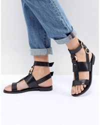 Office - Shadow Black Leather Sandals - Lyst