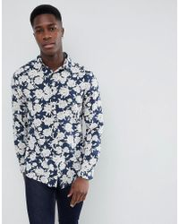Stradivarius - Flower Print Long Sleeve Shirt In Navy - Lyst
