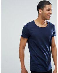 741921863f56 HUGO By Boss Depus T-shirt Longline Raw Edge Slim Fit In White in ...