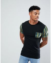 ASOS - Muscle T-shirt With Geo- Velour Printed Sleeves And Pocket - Lyst