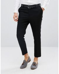 ASOS - Tapered Smart Trousers In Black Waffle Fabric - Lyst