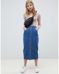 ASOS - Denim Midi Skirt With Poppers In Midwash Blue - Lyst