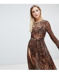 ebonie n ivory - Long Sleeved Mesh Dress With Thigh Splits In Leopard - Lyst