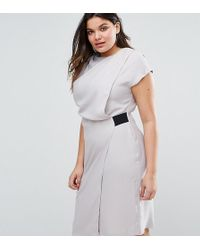 ASOS | Drape Front Pencil Dress With Elastic Detail | Lyst