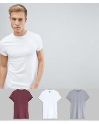 ASOS DESIGN - Muscle Fit Crew Neck T-shirt With Roll Sleeve 3 Pack Save - Lyst