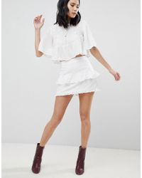 Honey Punch - Mini Skirt With Ruffles & Embroidered Stars - Lyst